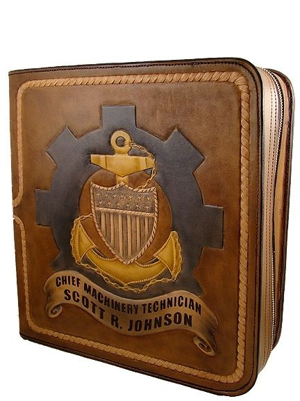 coast guard cpo designs | Custom Made Leather Binder Uscg Chief Charge Book Mk