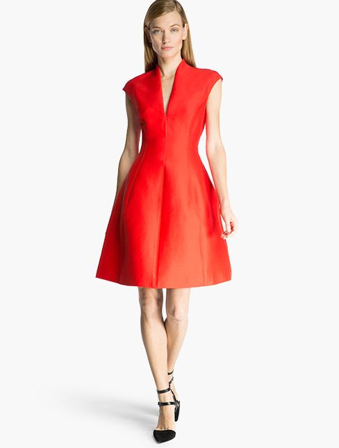 6ba544c0f3619 Halston Heritage Silk Faille Structured Dress Lipstick Red Cocktail Dress