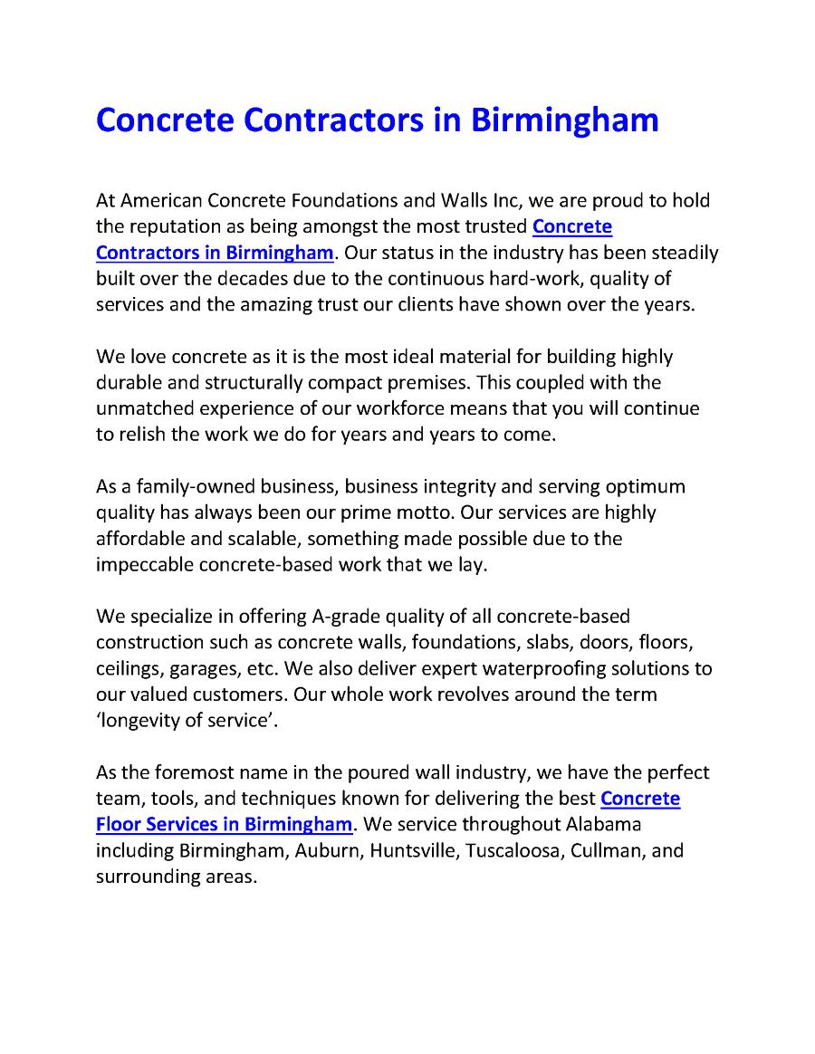 Concrete Floor Services In Birmingham Concrete Contractor Concrete Floors Birmingham