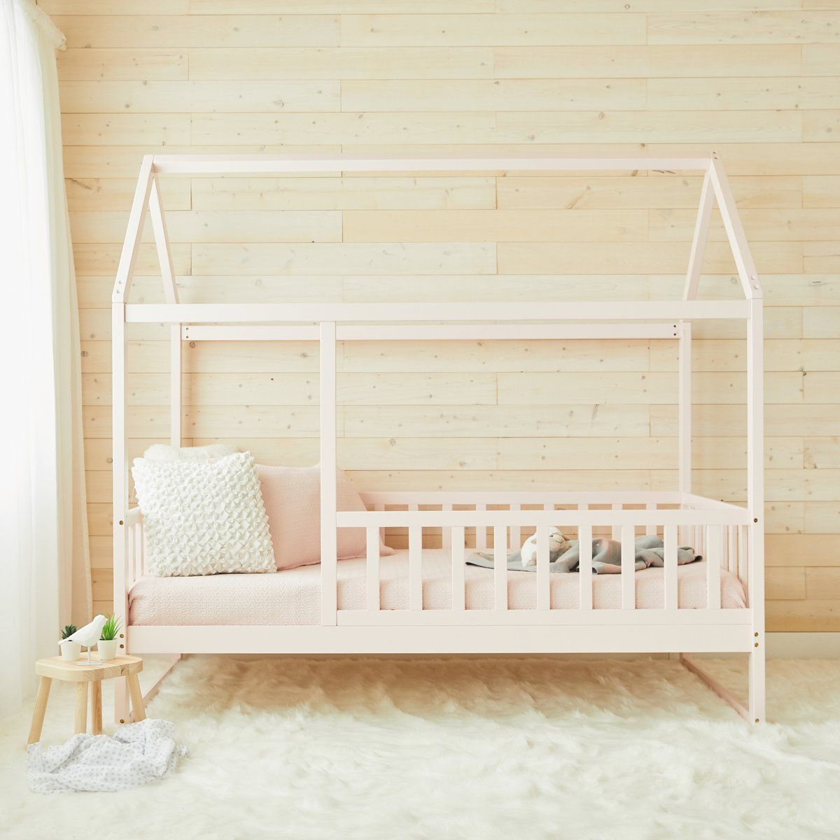 House Bed With Rails PINK Twin Size (preorder) in