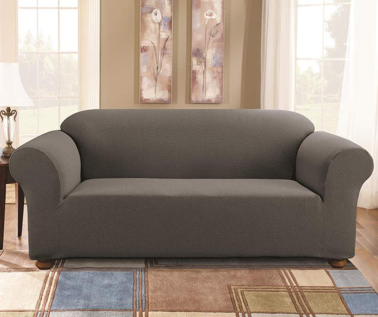 Gray Tile Stretch Sofa Slipcover In 2020 Slipcovered Sofa Cushions On Sofa Slip Covers Couch