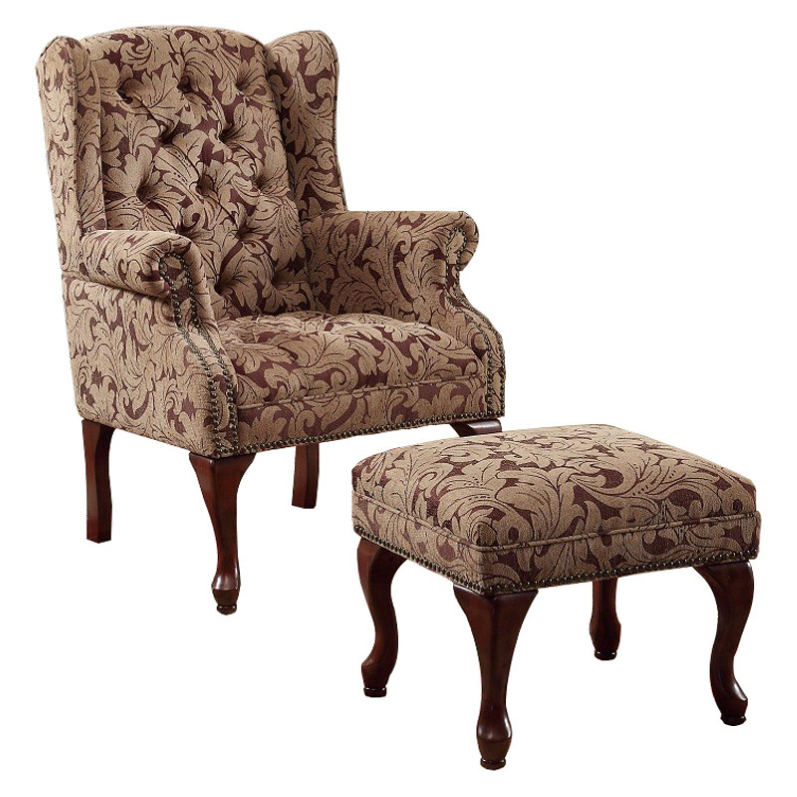 Benzara Classic Floral Wingback Chair With Ottoman Chair And