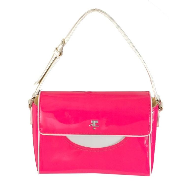 Vintage Courreges Hot Pink & White Patent Leather Handbag | 1st,  1970s, $650