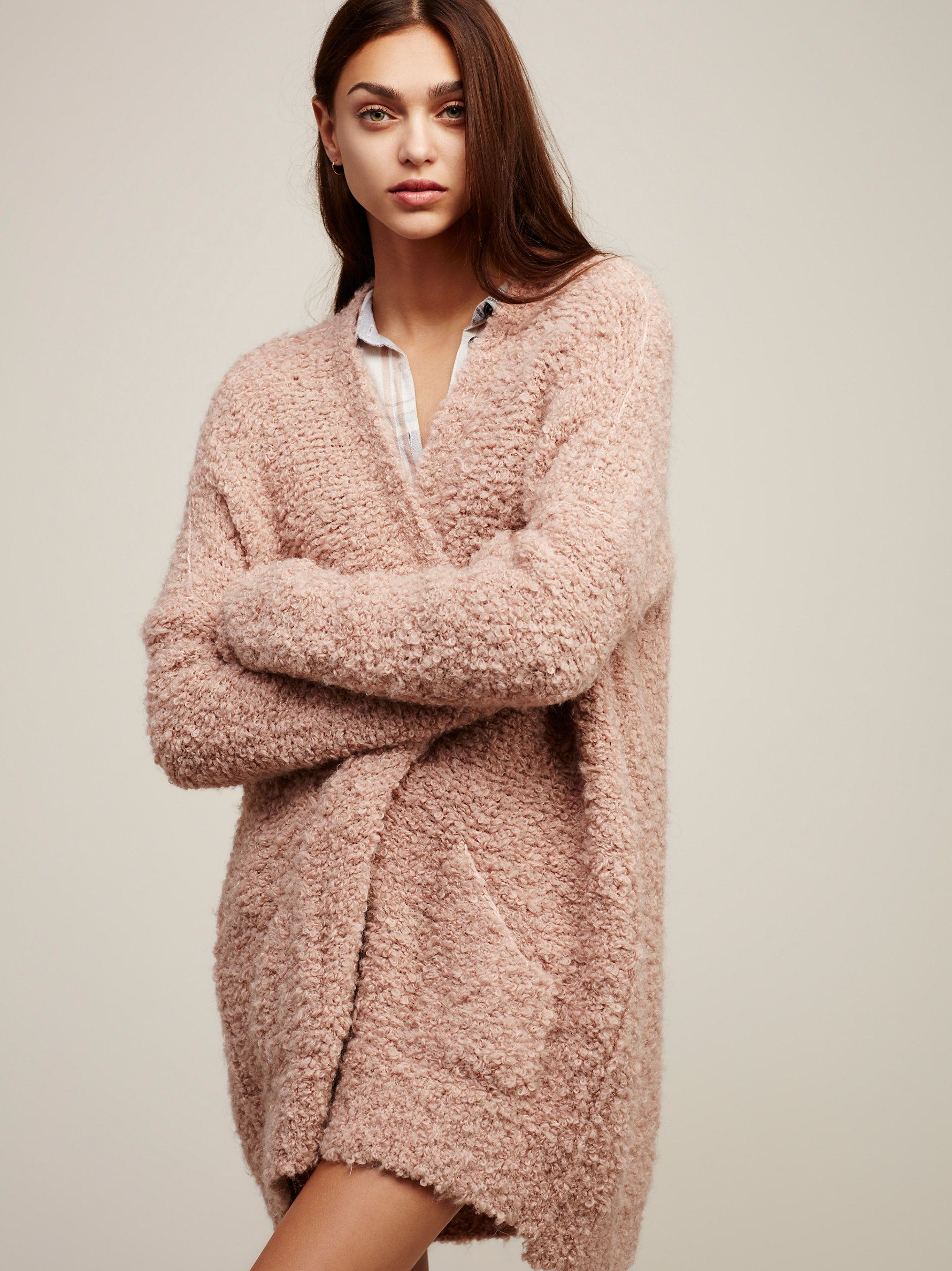 Free People Boucle Slouch Cardi | Pocket detail and Clothes