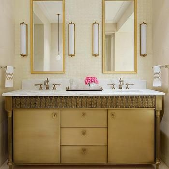 Gold Bathroom Vanity with Gray Ikat Rug | circa lighting Calliope ...