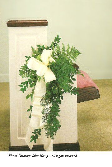 Church pew decorations for weddings varigated pittosporum and pew bows with greenery browse galleries filled with wedding ideas for bridal bouquets centerpieces church decor reception halls more junglespirit Choice Image