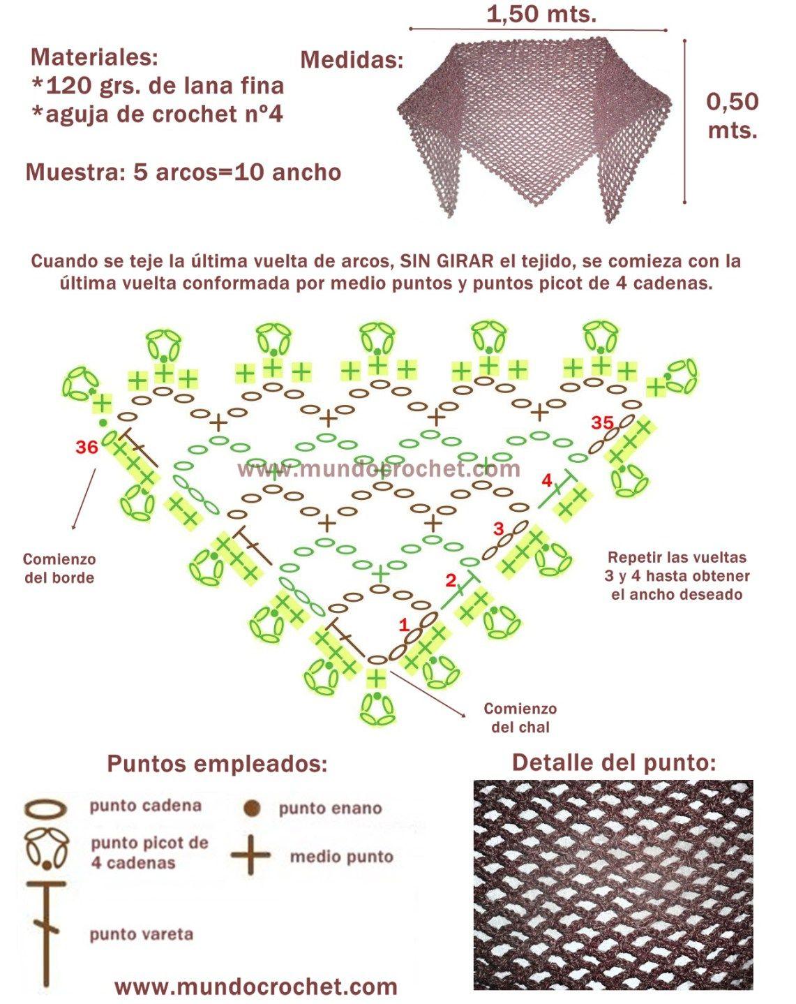 Increíble La Oración Sin Patrón Chal De Ganchillo Cresta - Ideas de ...