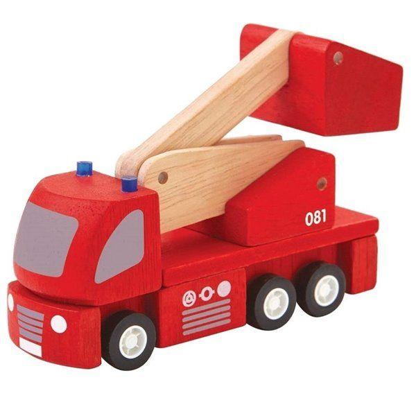 Feuerwehrauto Holzspielzeug Mit Hebebühne In 2020