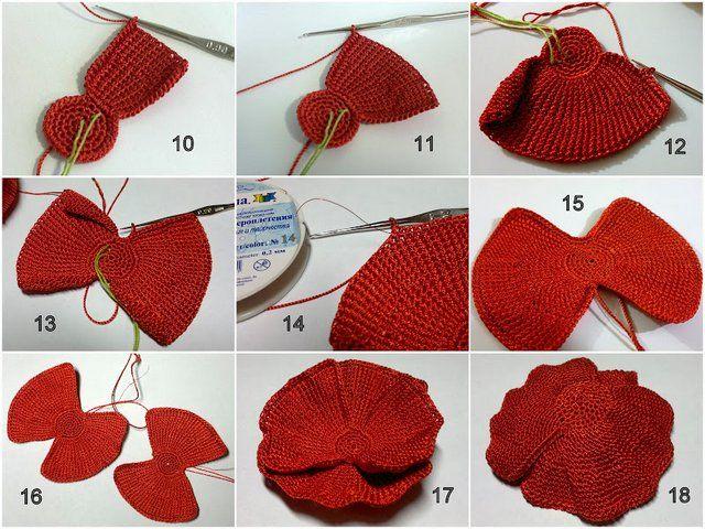 маки крючком Crochet Leaves вязаные цветы вязание и вязание крючком