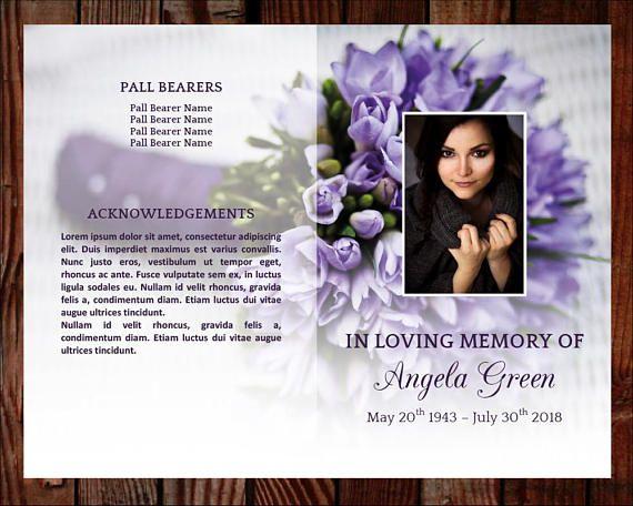 funeral program template 8 page program plus prayer card