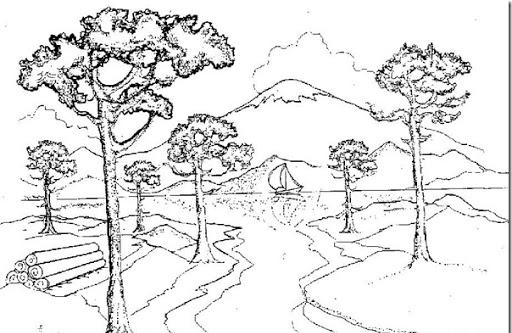 Dibujos Para Colorear Paisajes Naturales: Imagenes-de-paisajes-naturales-para-colorear- árboles