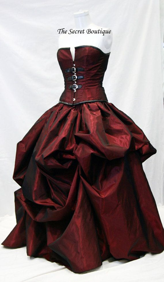 Gothic wedding gown, steampunk goth red wedding dress | Pinterest ...