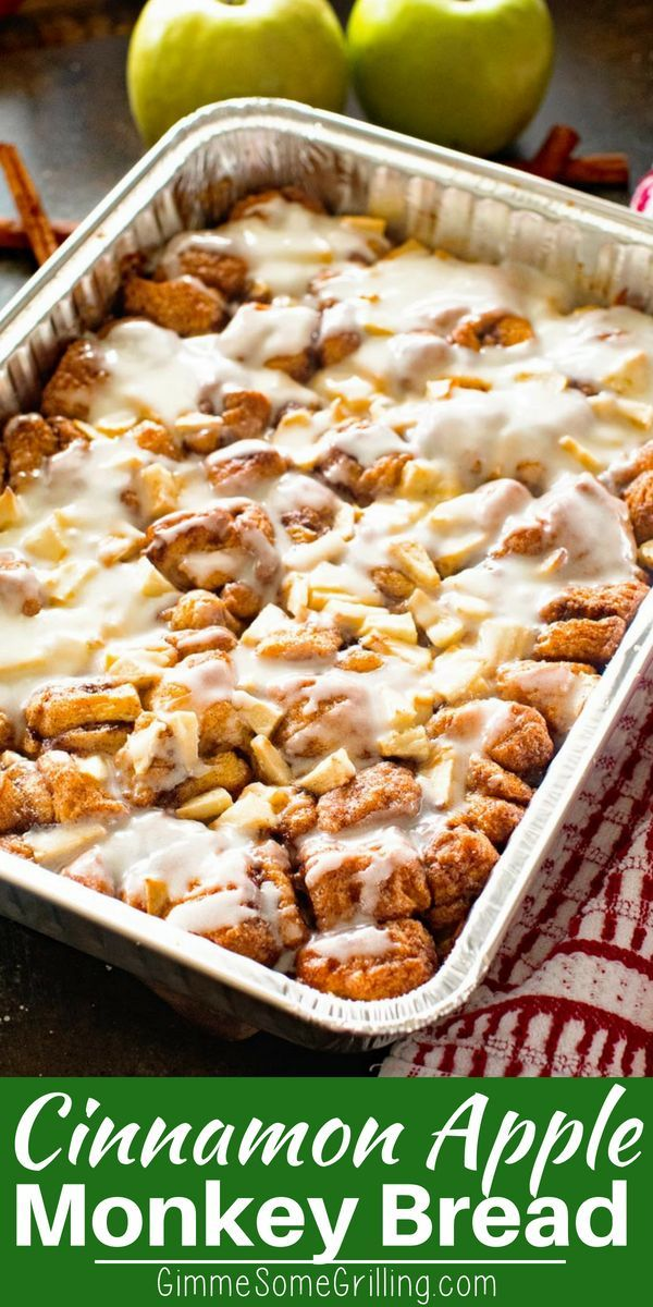 Apple Monkey Bread on the Grill - Gimme Some Grilling ® #monkeybreadwithcannedbiscuits