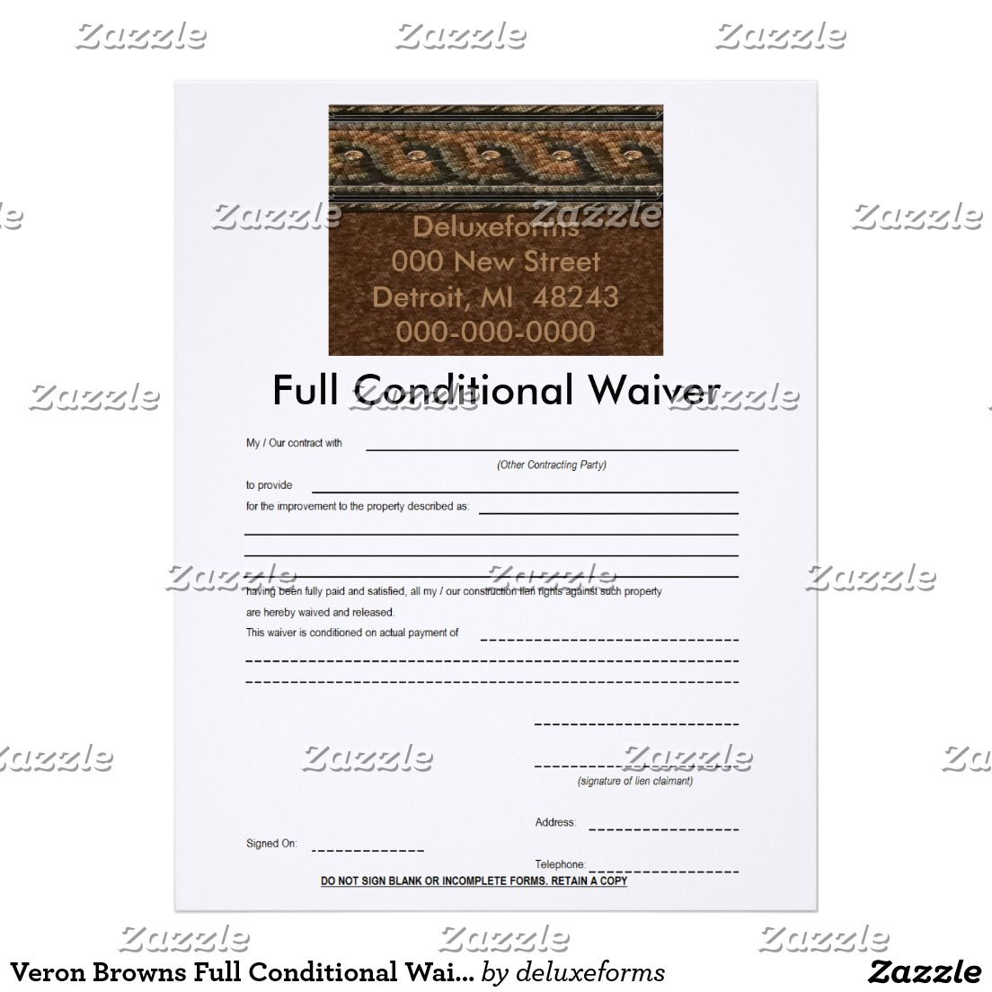 Veron Browns Full Conditional Waiver Letterhead  Products