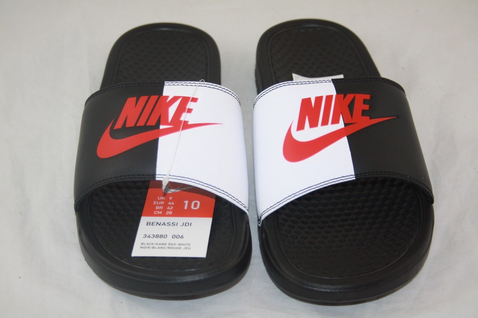 9cc7575edf0c37 New Nike BENASSI JDI Men s Black Game Red-White 343880-006 Slide Sandals