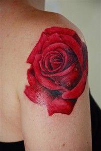 Tatouage Rose Rouge Epaule Femme