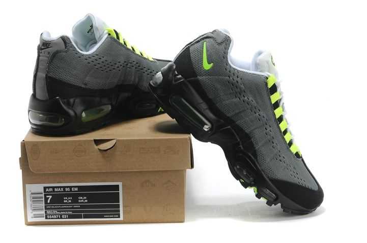 2014 New Nike Air Max 95 EM Mens Running Shoes Online Grey Black