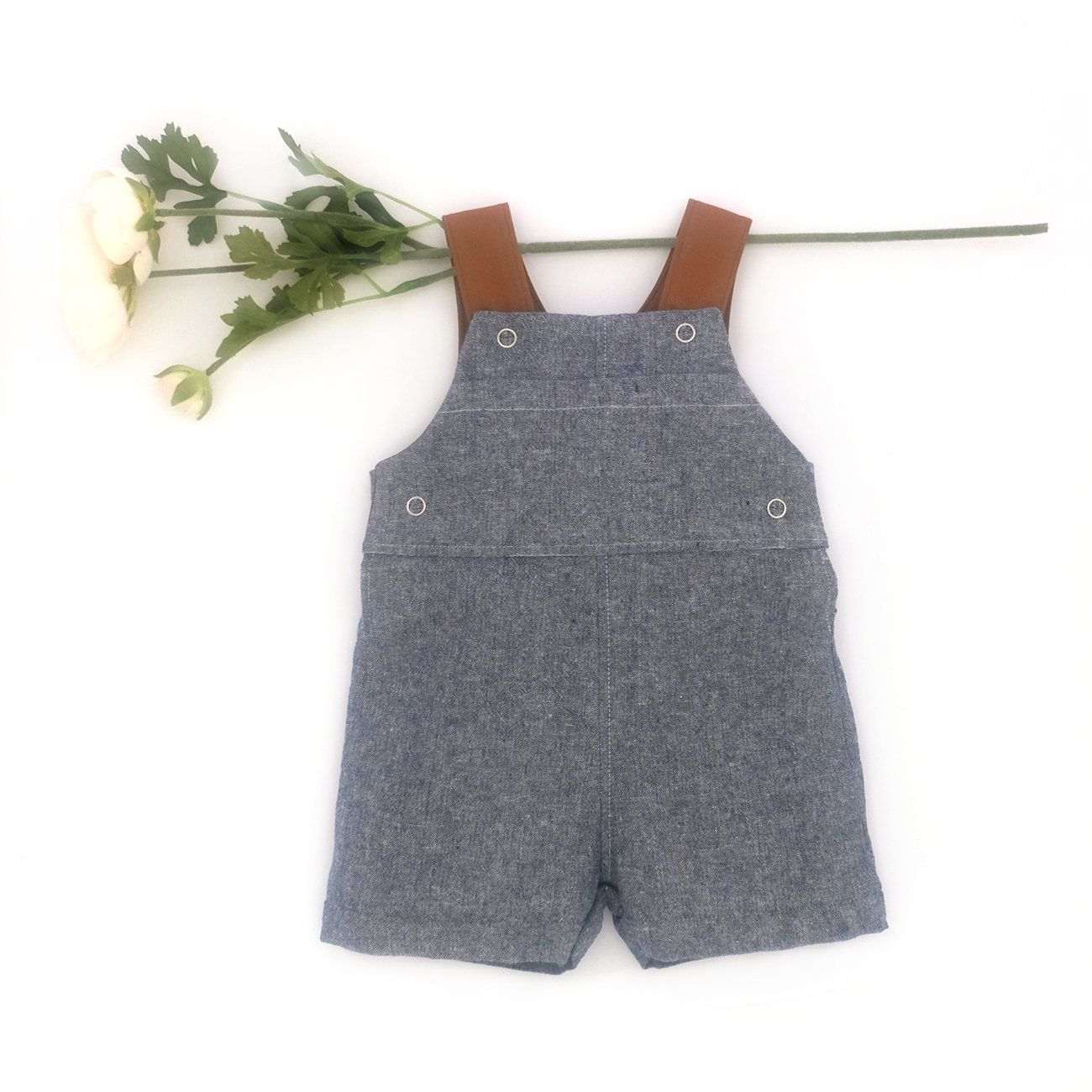 614d14bd3e93 Blue Chambray Overalls   Baby Linen Spring Romper   Vintage Timeless  Toddler Boy Outfit   Classic Infant Playsuit   Photoshoot Kid Shortalls