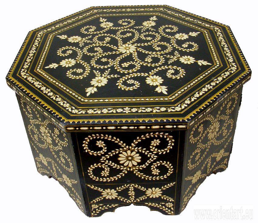 Good 80x80 Cm Antik Look Orient Teetisch Tisch Couchtisch Schwarz U0026 Weiß Coffee  Table