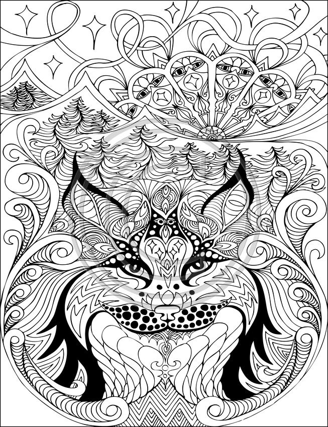 The Lynx Coloring pages colouring adult detailed advanced printable ...