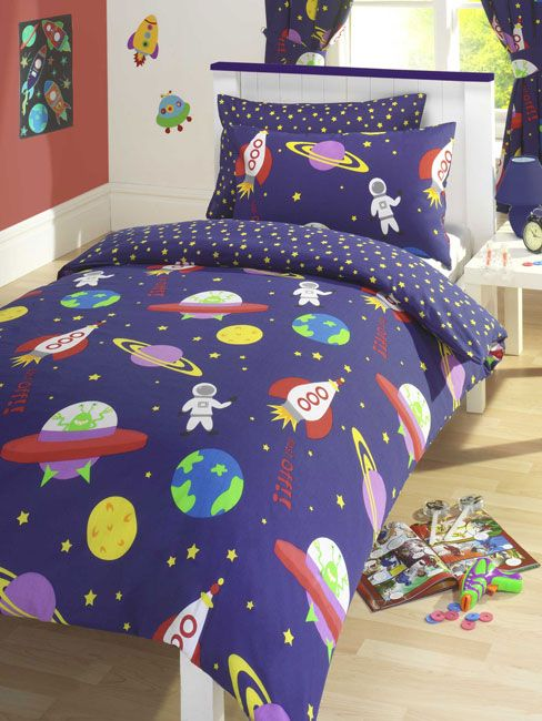 Blast Off Boy S Duvet Covers Curtains Outer E Ship Rocket New