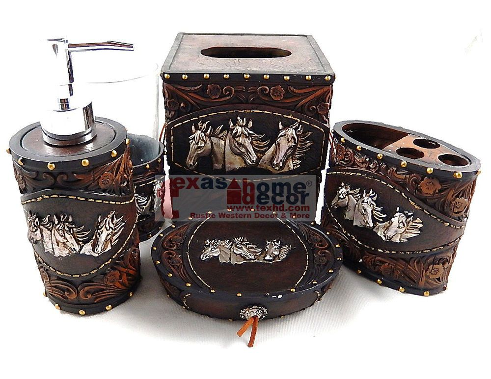 Western Horses Flowery Bathroom Accessory Set 5 Pieces Rustic Leather Look Studs Unbrand Bathroom Accessories Sets Rustic Leather Western Bathroom Accessories