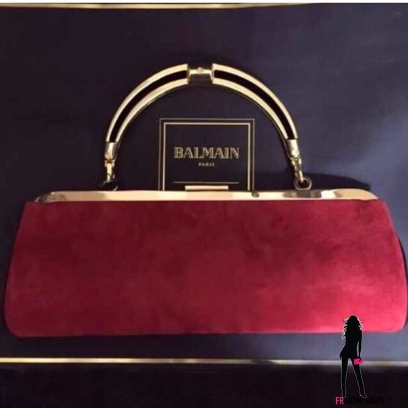 35a12d94b81 Balmain H&M Red Suede Convertible Clutch From the instantly sold out Balmain  for H&M collection. Red suede exterior clutch bag. Inside pocket.