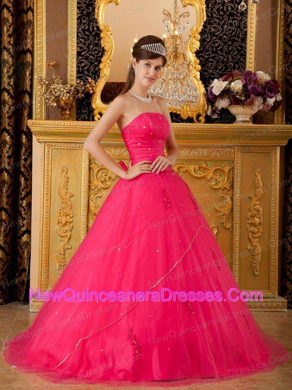 5bbf5c44e08 Low Price Hot Pink Sweet 16 Dress Strapless Tulle Appliques A-line    Princess
