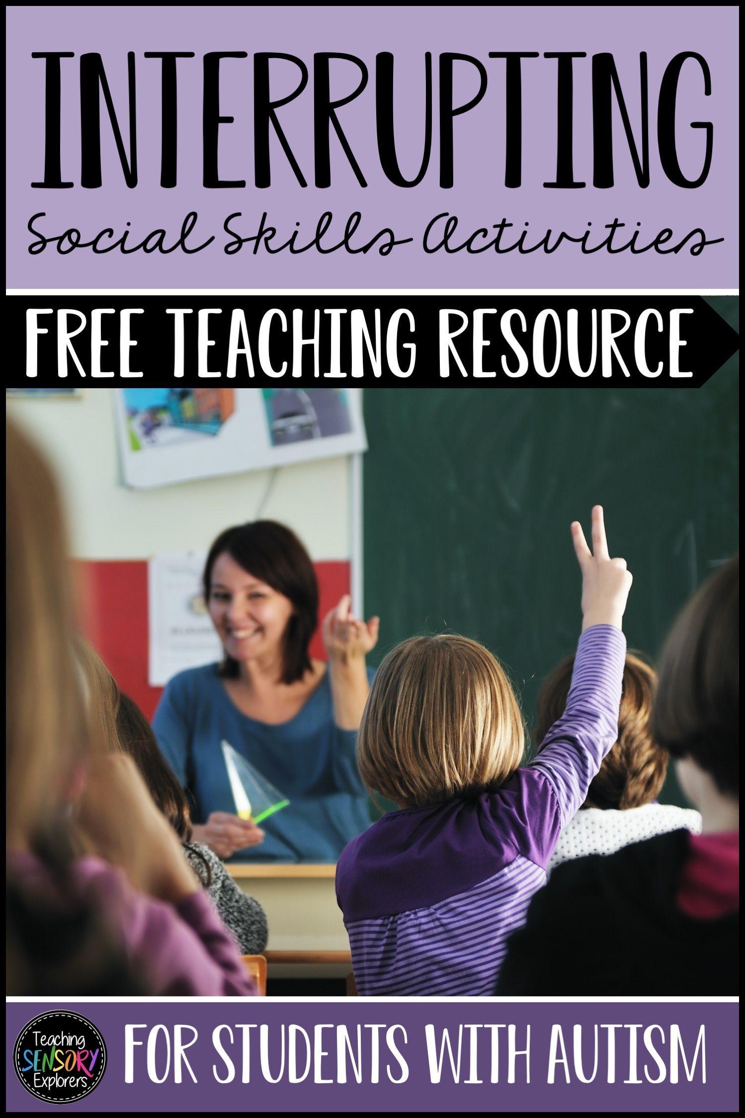 Interrupting Social Skills Worksheet Activity And Social