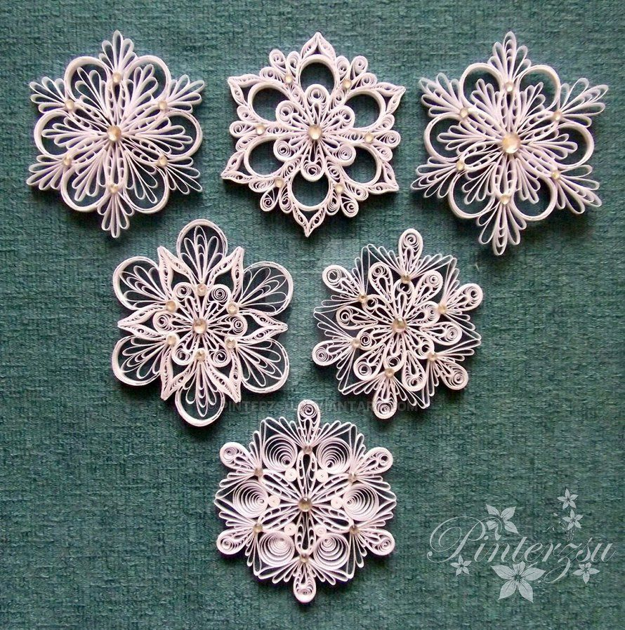 Quilled Snowflakes By Pinterzsu On Deviantart Quilling border=