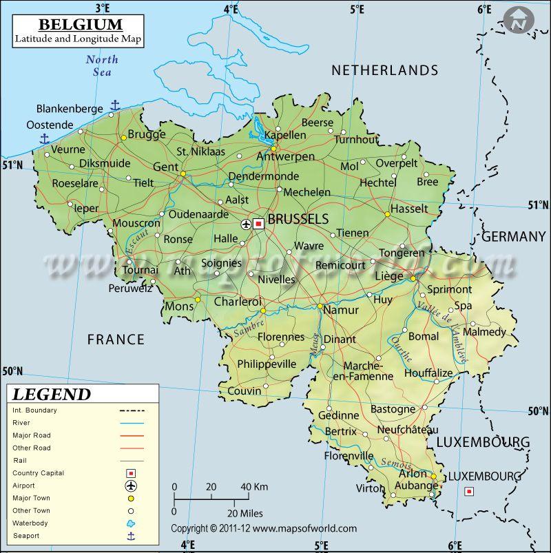 map of belgium towns Belgium Latitude And Longitude Map Latitude Longitude Map Belgium Romantic Road map of belgium towns
