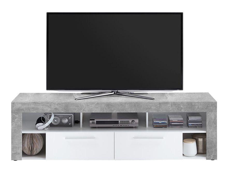 Meuble Tv De 2 Tiroirs Et 6 Niches Coloris Gris Beton La Blanc