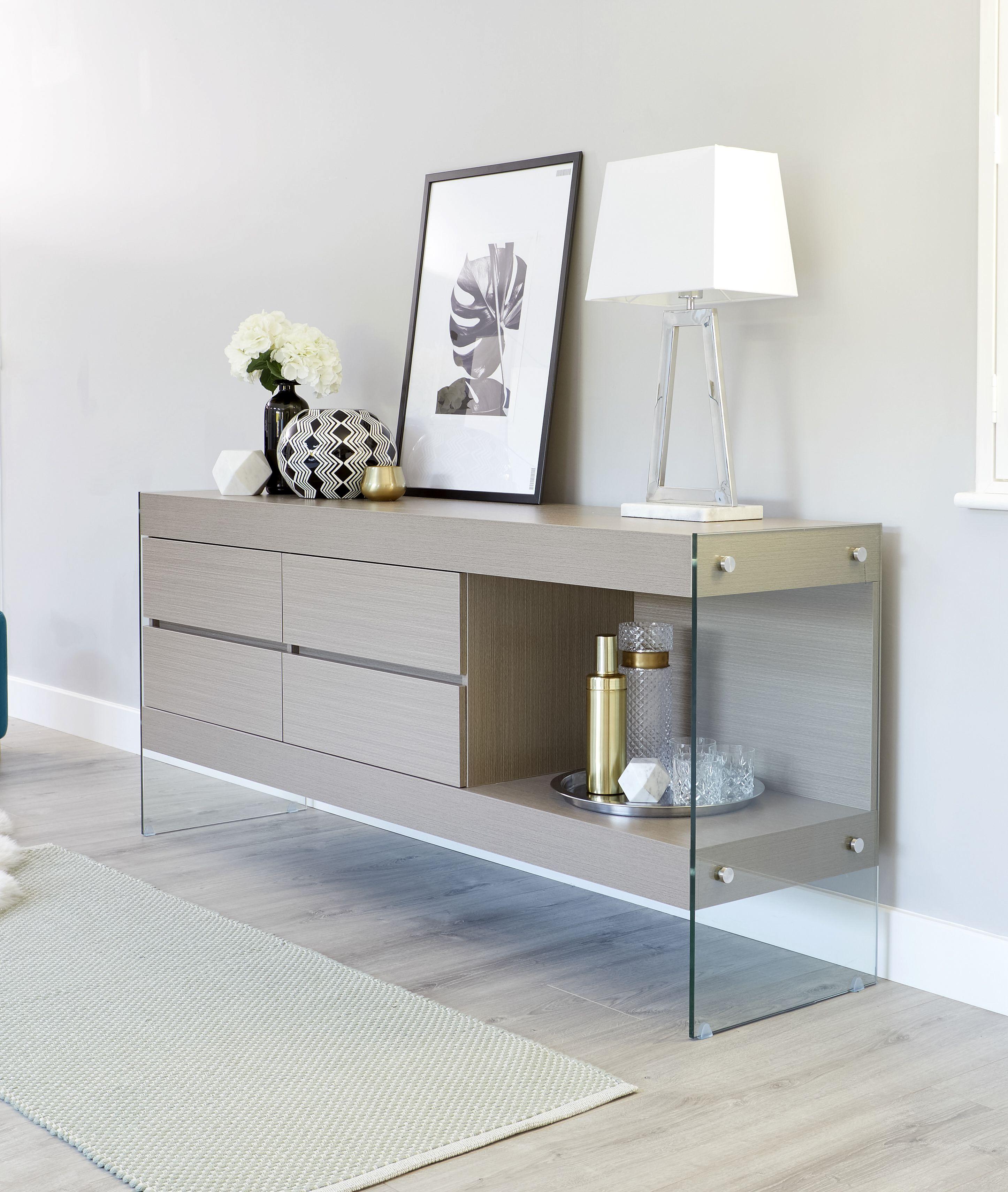 Aria Glass And Grey Oak Sideboard Living Room Furnitur