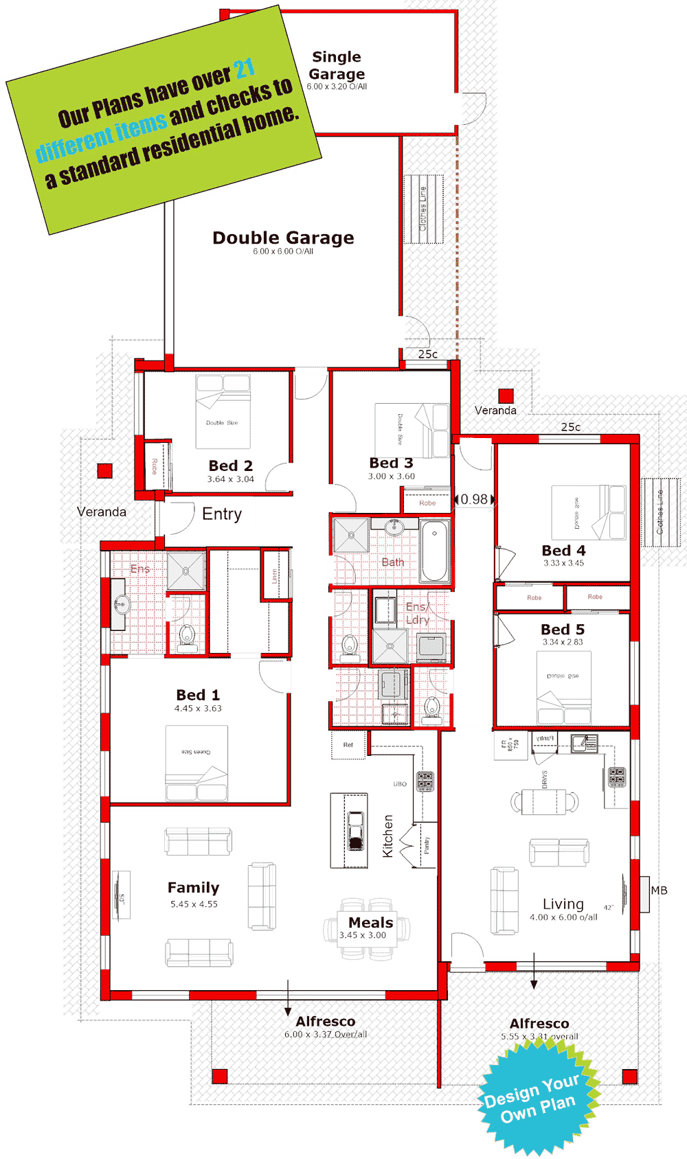 Corner Lot Design With Dedicated Frontages House Layout Plans Family House Plans Duplex Floor Plans