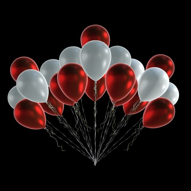 Red White Balloons Shiny Party Anniversary Birthday Wedding White Balloons Balloons Red And White
