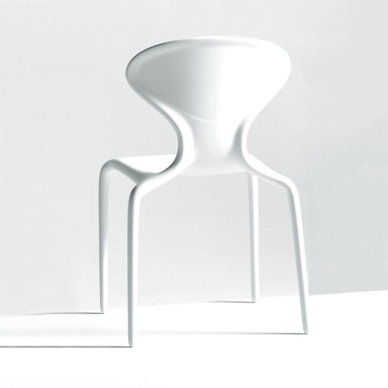 Supernatural 2, white armless stacking chair by Ross Lovegrove