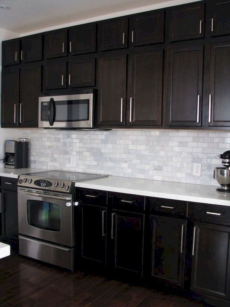 80 Beautiful Kitchen Backsplash Decor With Dark Cabinets Kitchen Backsplash Designs Backsplash With Dark Cabinets Black Kitchen Cabinets