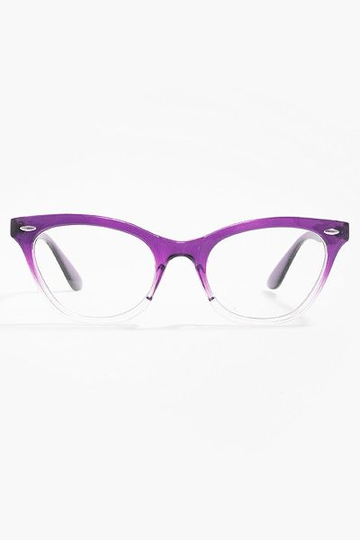 'Emma' Gradient Frame Cat Eye Clear Glasses - Purple  True story: In 1st grade I wore fake purple glasses to school because I thought they were cool. I might get this for the same reason :)