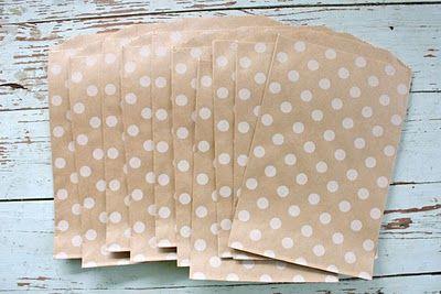 Small polka dot paper sacks. Cute for gift giving