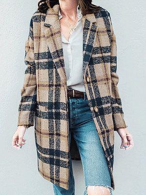 Photo of Notch Lapel  Plaid Coat