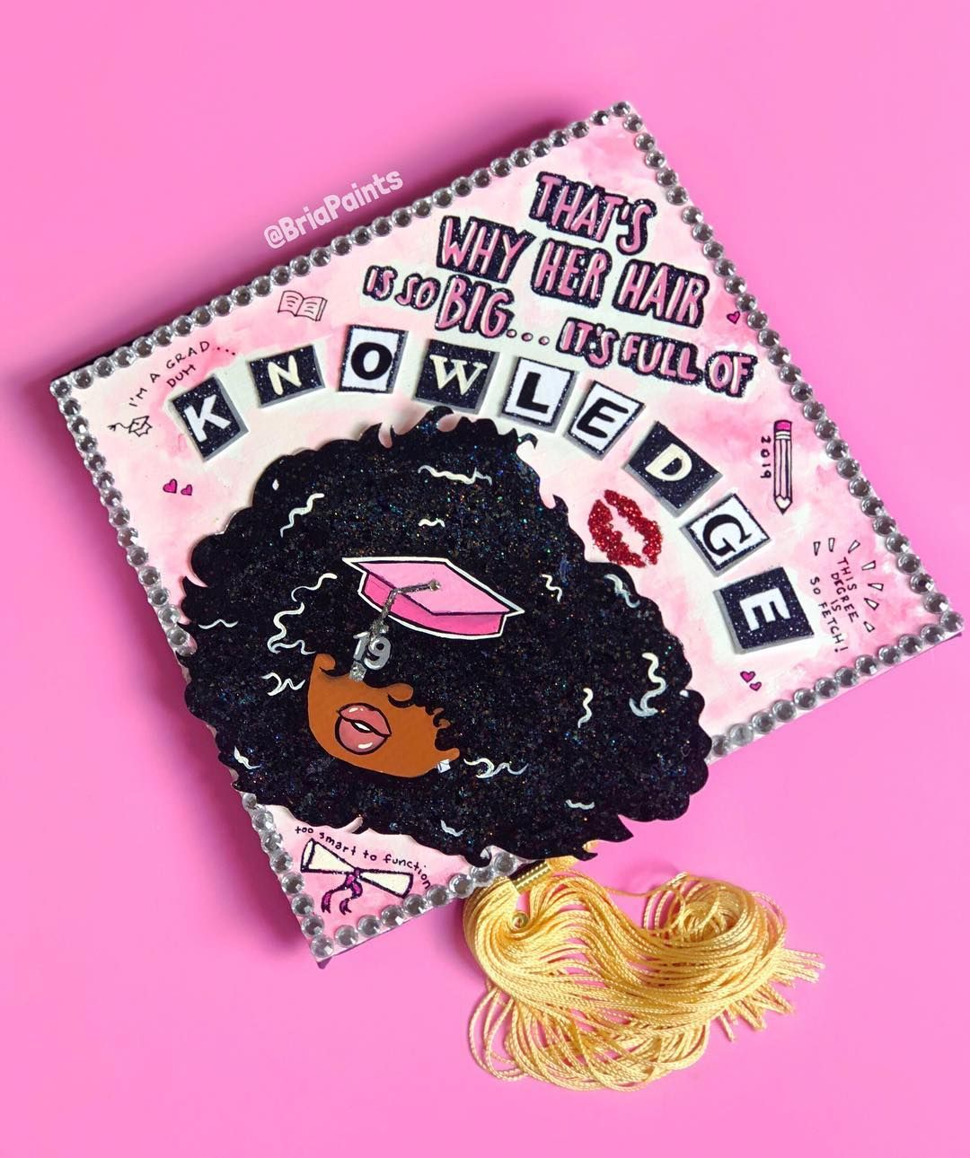 "Bria Paints on Instagram: """"That's why her hair is so big, it's full of knowledge"" ��. I wanted to do another black girl Mean Girls grad cap so I did this adorable…"""