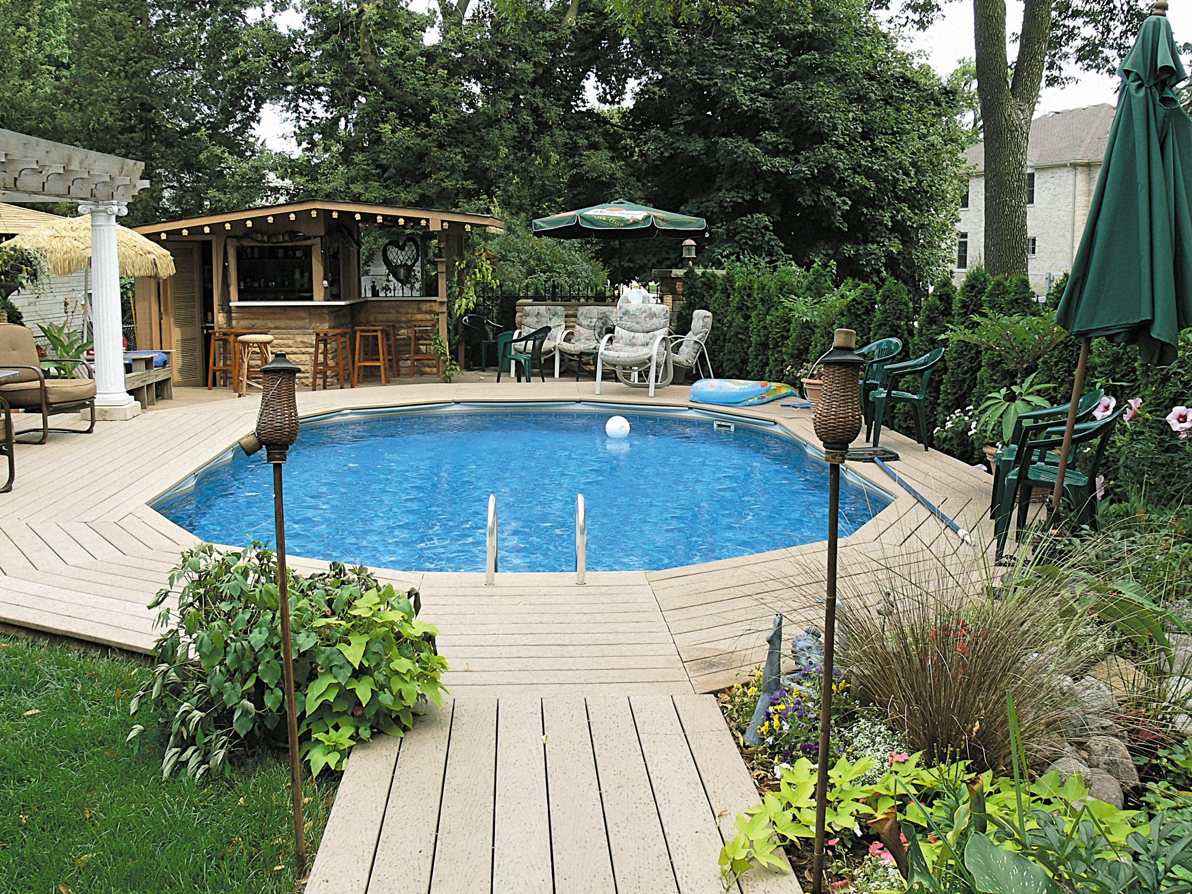 Above Ground Pool Landscaping Partly Buried Landscaping