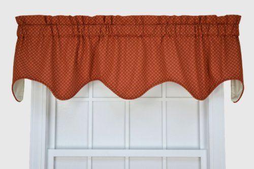 Tyvek Small Scale Diamond Lined Scallop Valance Window Curtain