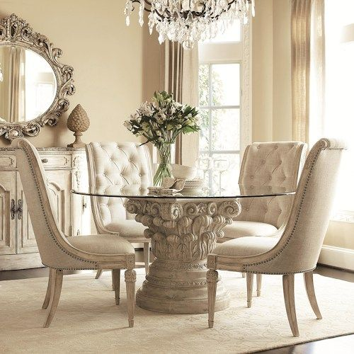 8 Glass Round Dining Table Pedestals, Round Glass Dining Table With Pedestal Base