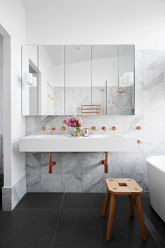 Floating Vanity Marble Tile Wall Copper Pipes Amp Fixtures