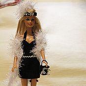Купить или заказать Платье для Барби в интернет-магазине на Ярмарке Мастеров. Платье для Барби связано крючком и оформлено бисером. Застежка на пуговицах. (сама кукла не продается). В комплект входят платье, повязка на голову и сумочка.