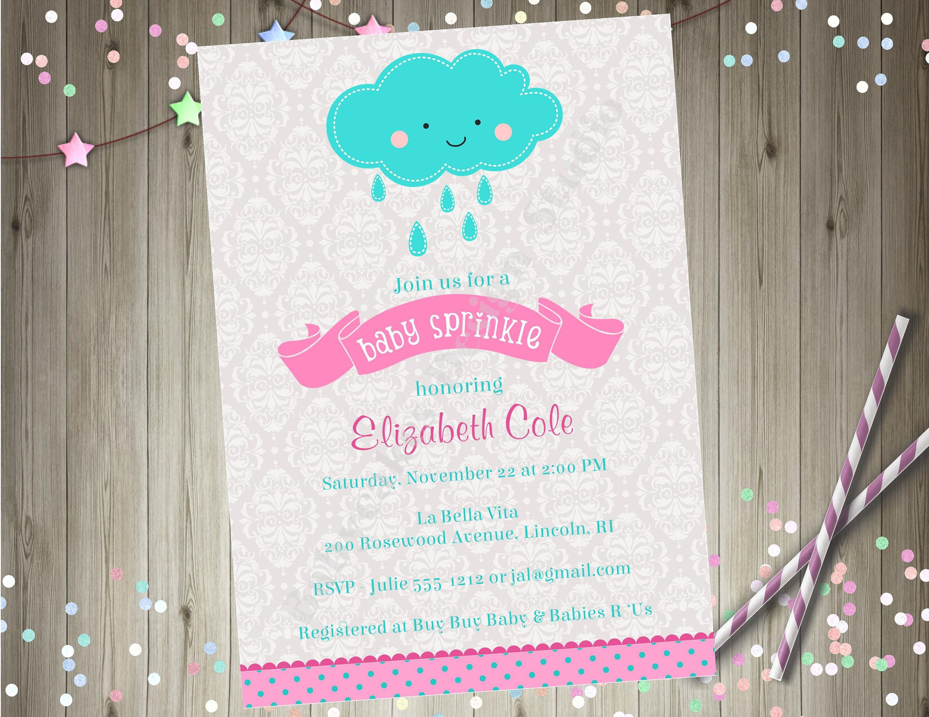 Baby Sprinkle Invitation Baby Shower invitation invite rain cloud ...