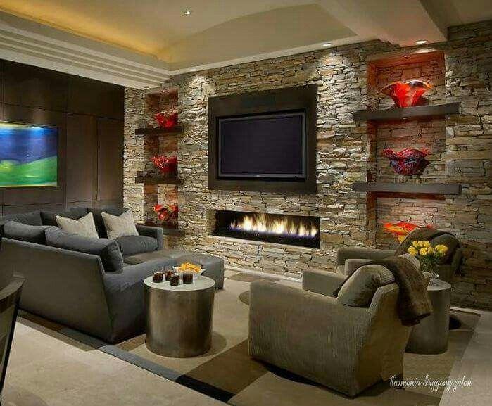 Sala de estar con piedra casa en 2019 chimeneas de - Decoracion de chimeneas interiores ...