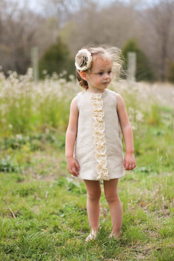 Linen Ruffle Dress for Girls Rustic Flower by HappyLittleDress, $40.00