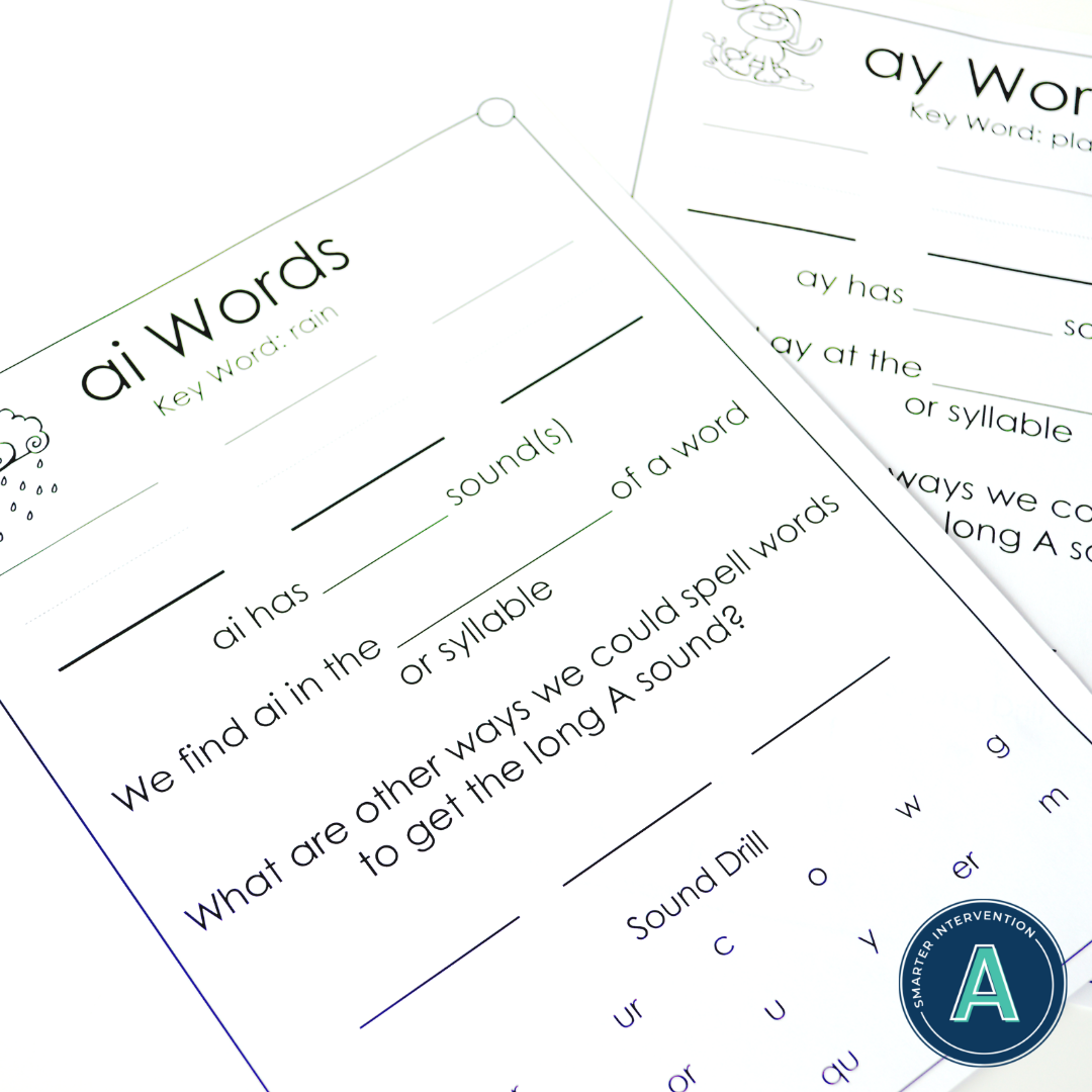 Vowel Digraph Ai Ay Literacy Center Activities With